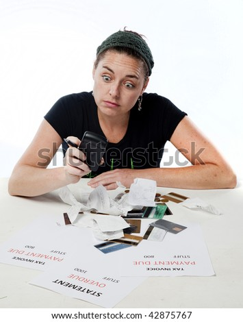 Frustrated woman looking suprised about her finances