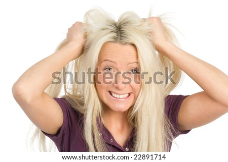 frustrated woman tearing her hairs
