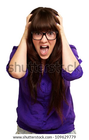 Frustrated Woman With Mouth Open Isolated On White Background