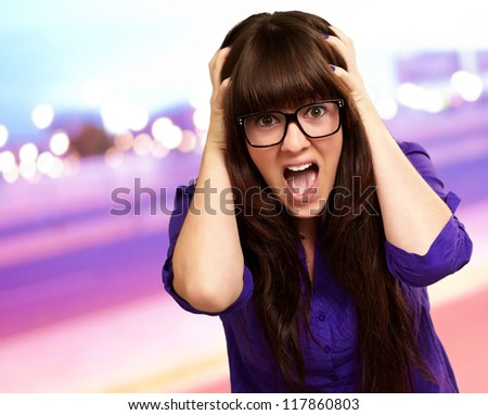 Frustrated Woman With Mouth Open, Outdoor