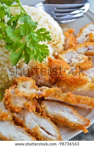 fry chicken rice of thailand