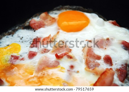 frying egg and bacon