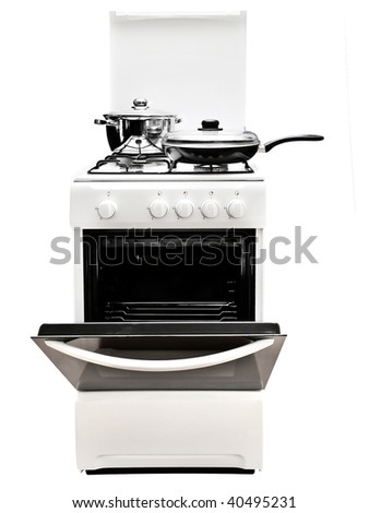 frying pan and pot at the white gas stove over the white background