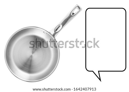 Frying Pan Isolated on White Background. Metal Skillet Pan. Kitchen Utensil. Cooking Pot. Small Kitchen Appliances. Home and Domestic Appliance. Top View of Stainless Steel Frypan. Home Innovations