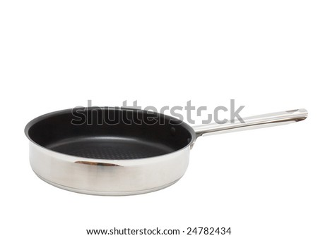 Frying pan, which  made of  stainless steel. Isolated.