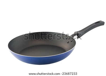Frying pan with blue floor. Isolated.