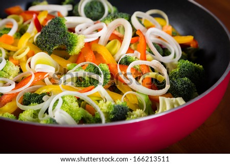 frying pan with colorful vegetables close up