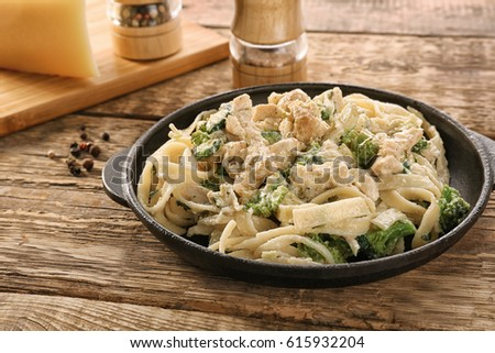 Shutterstock Frying pan with delicious chicken Alfredo on wooden table