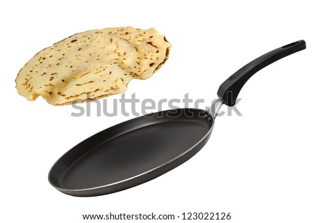 Frying pan with flying pancake