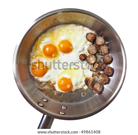 Frying pan with sausage slices and eggs
