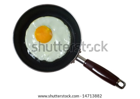 Frying pan with sunny side up egg isolated on white background