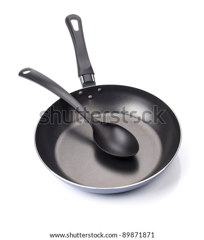 Frying pan with utensil. Isolated on white background