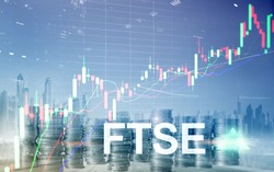 FTSE 100 Financial Times Stock Exchange Index United Kingdom UK England Investment Trading concept with chart and graphs