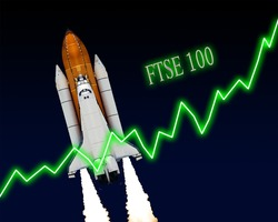 FTSE 100 index chart up London stock exchange. Elements of this image furnished by NASA.