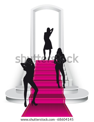 Fuchsia carpet staircase with three misses