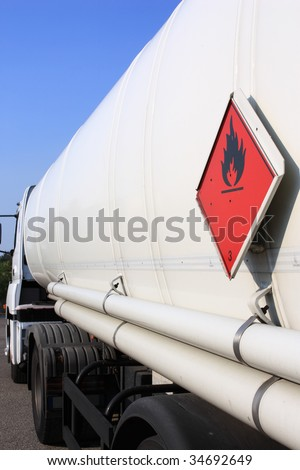 fuel and flammable liquid tanker truck