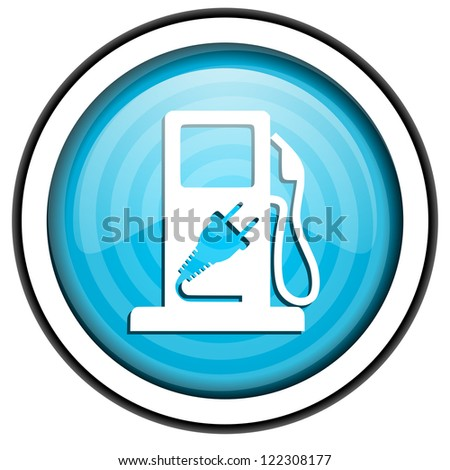 fuel blue glossy icon isolated on white background