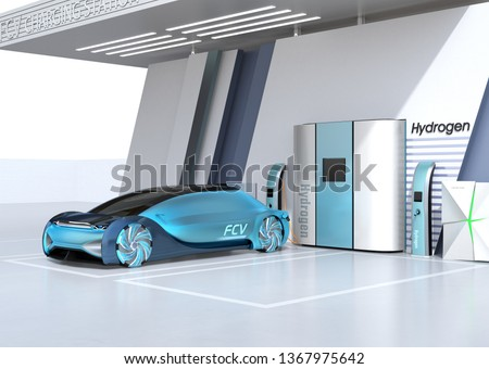 Fuel Cell powered autonomous car filling gas in Fuel Cell Hydrogen Station. 3D rendering image.