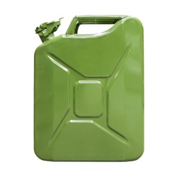 Fuel container jerrycan.Canister for gasoline, diesel gas.Fire resistant storage tank.