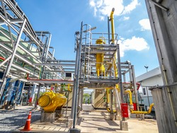 Fuel gas fitter systems in industry zone at Combined-Cycle Co-Generation power plant.