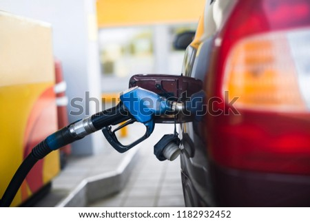 Fuel gasoline car in gas station #1182932452
