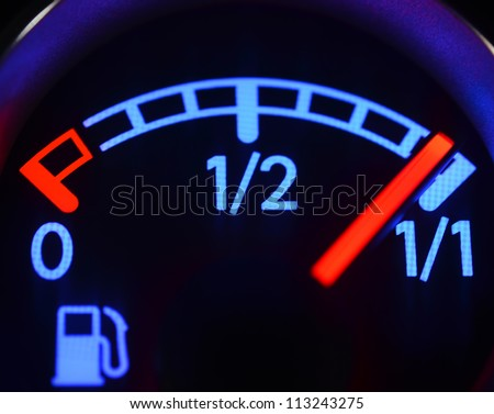 Fuel gauge close up