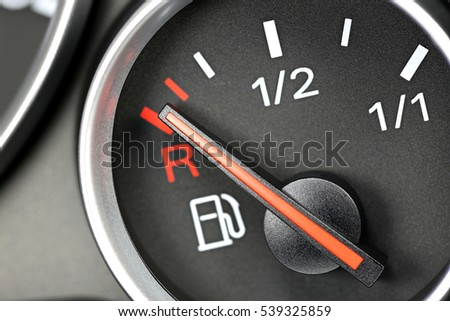 fuel gauge in car dashboard - empty