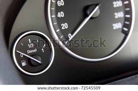 fuel gauge in the car