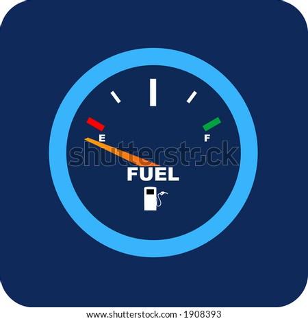 Fuel gauge, shows empty.
