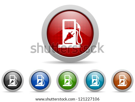 fuel glossy icons set on white background