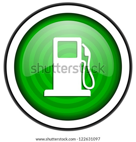 fuel green glossy icon isolated on white background