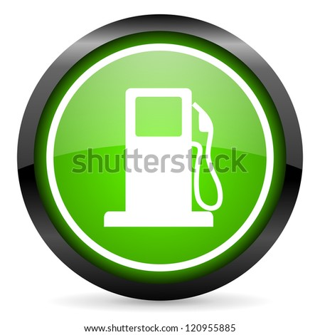 fuel green glossy icon on white background - stock photo