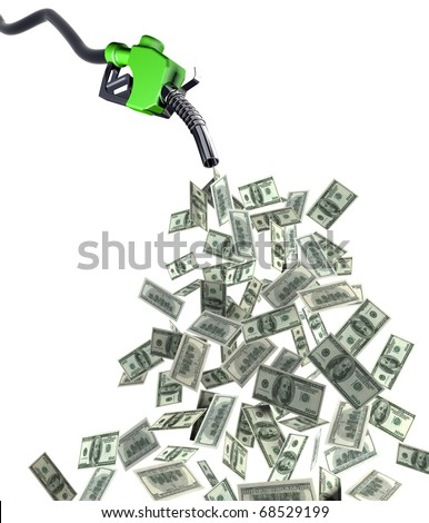 fuel nozzle with dollar banknotes 3d illustration