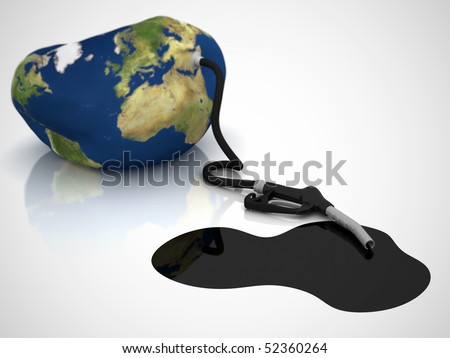 fuel nozzle with leaking oil connected to a balloon representing the earth
