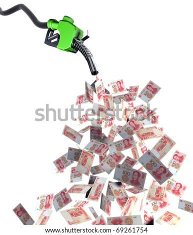 fuel nozzle with yuan banknotes 3d illustration