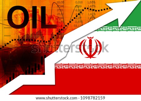 Fuel price increase. Iranian flag, upward arrow as a symbol of rising oil prices. #1098782159