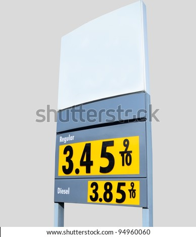 Fuel price sign at local gas station in rural Georgia, USA.