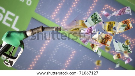 Fuel pump with euro banknote against price billboard