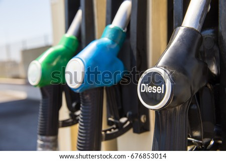 Fuel pumps. Diesel and the others. Close up.