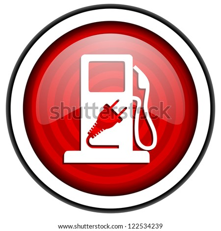 fuel red glossy icon isolated on white background