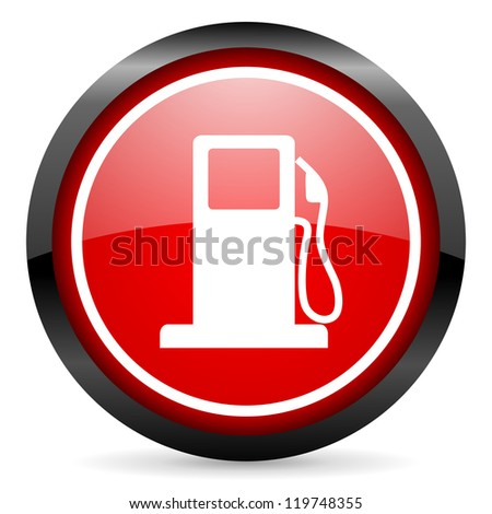 fuel round red glossy icon on white background