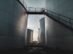Fuel storage tank oil. Large white industrial for tank oil. Crude oil export factory industry And storage tank . industrial pipes