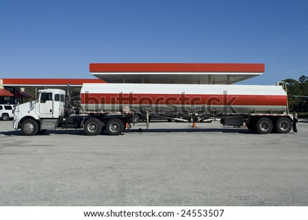 Fuel Tanker Truck at the Gas Station