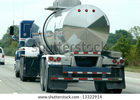 Fuel Tanker, truck driving on  on highway