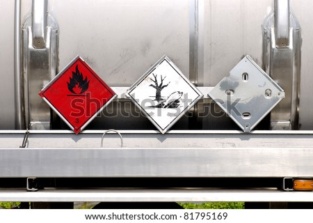 fuel tanker with warning plates - stock photo