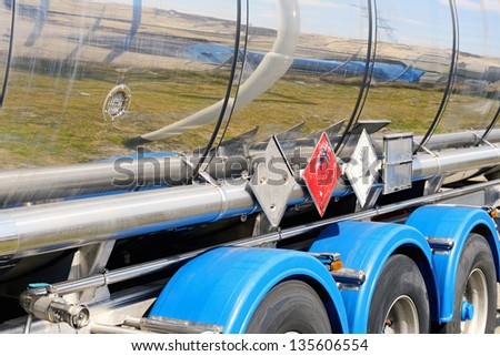 fuel tanker with warning sign
