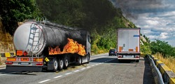 Fuel truck in flames. The fuel tank caught fire