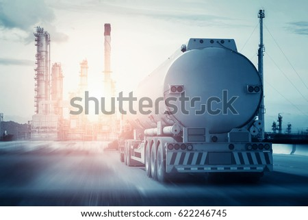 fuel truck in motion on highway and blurred background