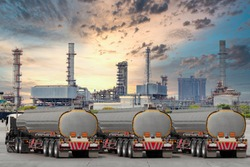Fuel truck on highway for transport fuel to petrochemical oil refinery