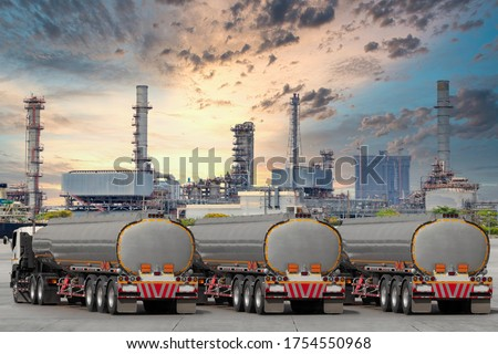 Fuel truck on highway for transport fuel to petrochemical oil refinery ストックフォト ©